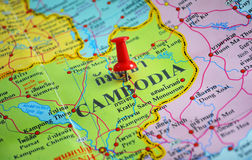 Cambodia map. Macro shot of cambodia map with push pin Royalty Free Stock Photo