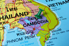 Cambodia in map. Macro shot of cambodia map with push pin Royalty Free Stock Photo