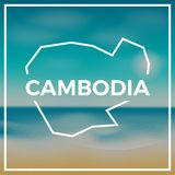 Cambodia map rough outline against the backdrop. Royalty Free Stock Photo