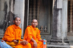 cambodia monks Royaltyfria Foton