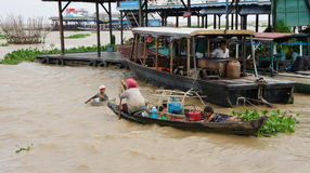 Cambodia. People's lives on the water. The country is often subjected to flooding during the rainy season. People who do not have the right to live in a land Royalty Free Stock Photo