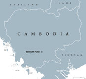 Cambodia political map. With capital Phnom Penh and English labeling. Kampuchea, a kingdom and country in the southern portion of the Indochina Peninsula in stock illustration