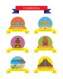Cambodia Provinces and Landmarks Icons Set Stock Photo