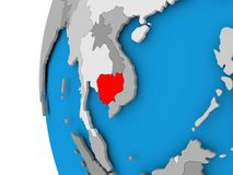 Map of Cambodia on political globe. Cambodia in red on political globe. 3D illustration Royalty Free Stock Image