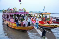 Cambodia River cruise in front of royal palace phnom penh Royalty Free Stock Photography