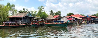 Cambodia River with Houses stock photography