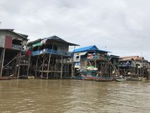 Fishing Village. Cambodia River WoodHouse Royalty Free Stock Photos