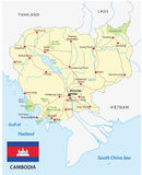Cambodia road map with flag Royalty Free Stock Image