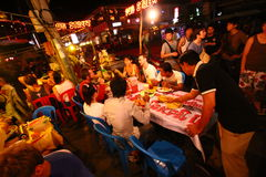 Cambodia road side restaurant in pub street Stock Photo