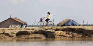 cambodia rowerowa dziewczyna Zdjęcia Stock