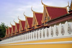 Cambodia Royal Palace. Roof and wall architecture of Cambodian Royal Palace, Phnom Penh Stock Photos