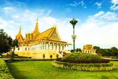 Cambodia Royal Palace khmer king place. Cambodia royal palace inside view Royalty Free Stock Image