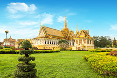 Cambodia Royal Palace khmer king place. Cambodia royal palace inside view Royalty Free Stock Images