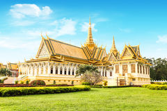 Cambodia Royal Palace khmer king place. Cambodia royal palace inside view Royalty Free Stock Photo