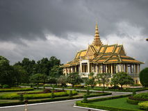 Cambodia Royal Palace. A storm brewing over the Royal Palace in Phnom Penh, Cambodia Royalty Free Stock Photography