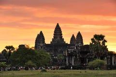 Cambodia. Siem Reap. Acordando o templo do wat de Angkor Imagem de Stock