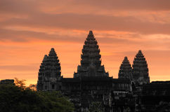 Cambodia. Siem Reap. Angkor wat temple. Against the colourful fiery sunrise sky Stock Images