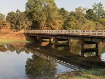 Cambodia Siem Reap Bridge over small creek in late afternoon royalty free stock image