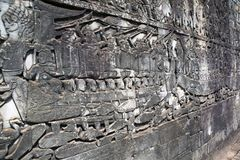 Cambodia. Siem Reap. Carved stone patterns on temple walls.  royalty free stock photos