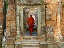 Cambodia ,Siem Reap monk in the temple Royalty Free Stock Photo