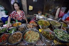 CAMBODIA SIEM REAP OLD MARKET PSAR CHAA royalty free stock photo