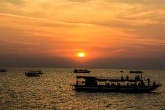 Cambodia Siem Reap Tonle Sap Lake Sunset royalty free stock image