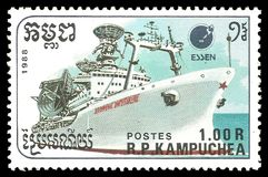 Communications Ship. Cambodia - stamp 1988: Color edition on Ships, shows Communications Ship Royalty Free Stock Images
