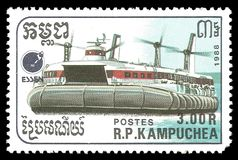 Hovercraft. Cambodia - stamp 1988: Color edition on topic of Ships, shows Hovercraft royalty free stock photos