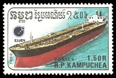 Cambodia Tanker. Cambodia - stamp 1988: Color edition on topic of Ships, shows Tanker stock image