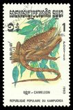 Cambodia Reptiles, Chameleon. Cambodia - stamp printed 1983, Memorable issue of offset printing, Topic Wildlife Fauna, Series Reptiles, Chameleon Royalty Free Stock Image