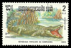 Wildlife Fauna, Series Reptiles, Crocodile. Cambodia - stamp printed 1983, Memorable issue of offset printing, Topic Wildlife Fauna, Series Reptiles, Crocodile Royalty Free Stock Images