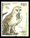 Western Barn Owl, Tyto alba. Cambodia - stamp printed 1987, Multicolor Memorable issue of offset printing, Topic Birds and Philatelic Exhibitions, Series Capex ` Stock Image