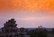 Cambodia Sunset. Sunset of Phnom Bakheng, one of the ruined temples of ancient Cambodia Royalty Free Stock Photo