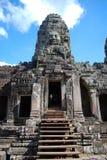 Cambodia  temple faces. Cambodia bluebird day la prong temple Stock Photo
