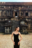 Cambodia Tourist Attraction. Happy Woman At Angkor Wat Temple. Stock Images