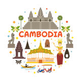 Cambodia Travel Attraction Label Stock Image