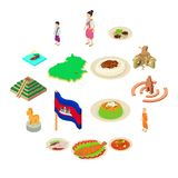 Cambodia travel icons set, isometric style. Cambodia travel icons set. Isometric illustration of 16 Cambodia travel vector icons for web Royalty Free Stock Photography