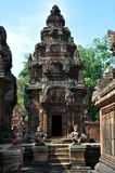 Cambodia - View of Benteay Srei, (the pink temple). Angkor Wat, Siem Reap area (Cambodia) - View of Benteay Srei temple, also called the pink temple, dedicated Stock Photography