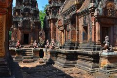 Cambodia - View of Benteay Srei, (the pink temple). Angkor Wat, Siem Reap area (Cambodia) - View of Benteay Srei temple, also called the pink temple, dedicated Royalty Free Stock Photo