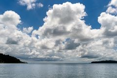 Cambodia. A view from the lagoon, big cloud stock photo