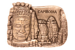 Cambodian Art Isolated. Isolated macro image of Cambodian porcelain art depicting historical sites and culture of Cambodia Royalty Free Stock Photography