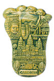 Cambodian Art Isolated. Isolated macro image of a Cambodian porcelain art depicting historical sites and culture of Cambodia Stock Photos