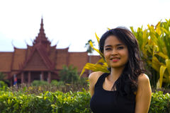 Cambodian attractive girl, national museum royalty free stock photography