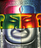Cambodian Buddha Head Painting. Colorful Cambodian Art, the Buddha Head Water Painting for background / wallpaper design Royalty Free Stock Photo