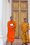 Cambodian Buddhist monks posing, King's palace, Phnom Penh. Royalty Free Stock Photography