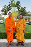 Cambodian Buddhist monks posing in the King's palace, Phnom Penh Royalty Free Stock Photos