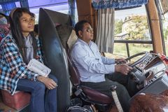 Cambodian bus driver. On the route from Ho Chi Minh in Vietnam to the Phnom Penh in Cambodia Royalty Free Stock Images