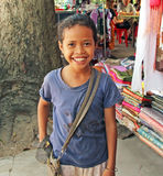 Cambodian Child. Happy Cambodian girl in the market Royalty Free Stock Photography