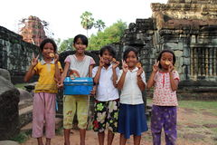 Cambodian Children. Portrait of Cambodian children smiling at Angkor Wat, Siem Reap, Cambodia Stock Images