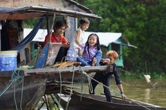 Cambodian Children on Tonle Sap Lake Royalty Free Stock Photography